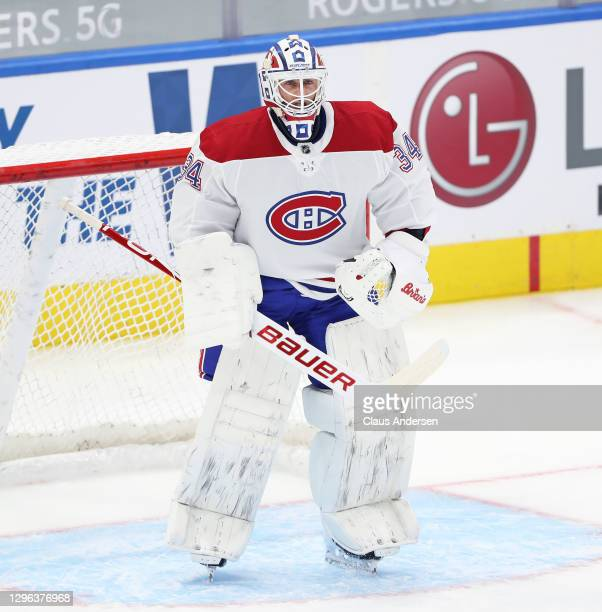 Jake Allen of the Montreal Canadiens warms up prior to action against the Toronto Maple Leafs in an NHL game at Scotiabank Arena on January 13, 2021...