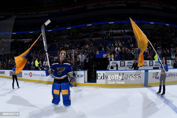 Jake Allen of the St Louis Blues acknowledges the crowd after shutting out the Dallas Stars at Scottrade Center on December 7 2017 in St Louis...