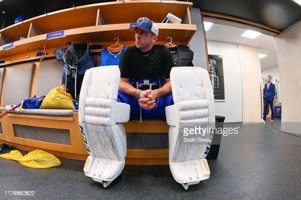 Jake Allen of the St. Louis Blues before the game against the Montreal Canadiens at Enterprise Center on October 17, 2019 in St. Louis, Missouri.