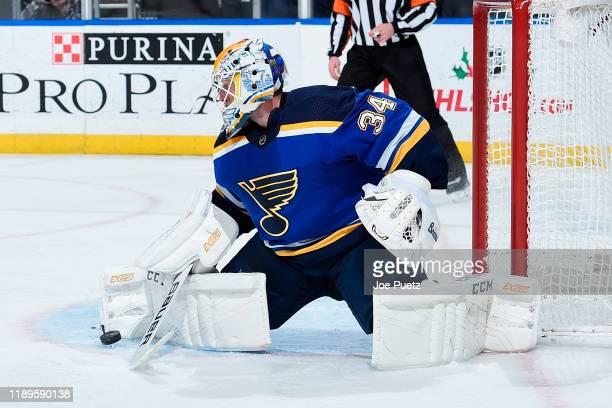 Jake Allen of the St. Louis Blues blocks a shot from the Edmonton Oilers at Enterprise Center on December 18, 2019 in St. Louis, Missouri.