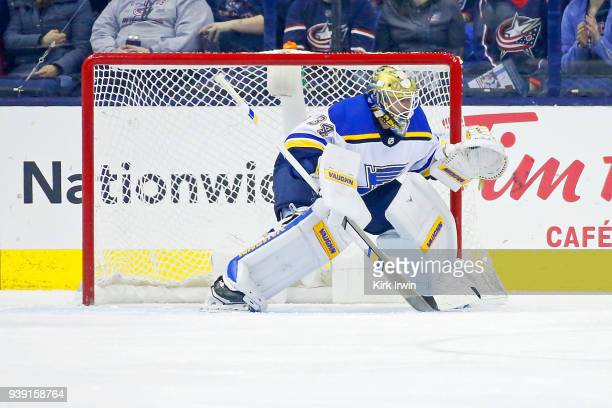 Jake Allen of the St Louis Blues follows the puck during the game against the Columbus Blue Jackets on March 24 2018 at Nationwide Arena in Columbus...