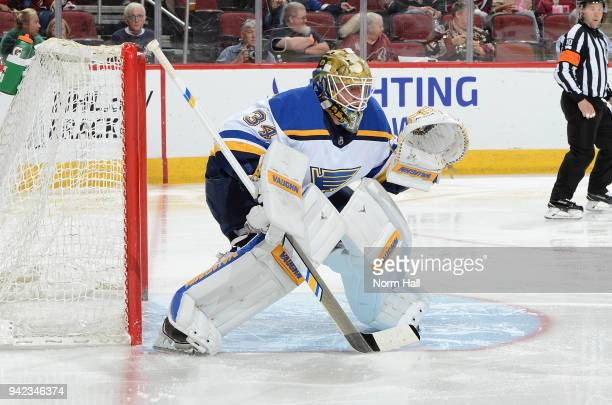 Jake Allen of the St Louis Blues gets ready to make a save against the Arizona Coyotes at Gila River Arena on March 31 2018 in Glendale Arizona