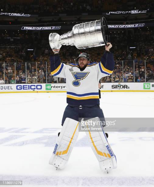 Jake Allen of the St Louis Blues holds the Stanley Cup following the Blues victory over the Boston Bruins at TD Garden on June 12 2019 in Boston...