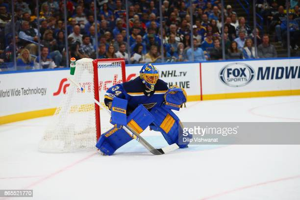 Jake Allen of the St Louis Blues in action against the Chicago Blackhawks at the Scottrade Center on October 18 2017 in St Louis Missouri
