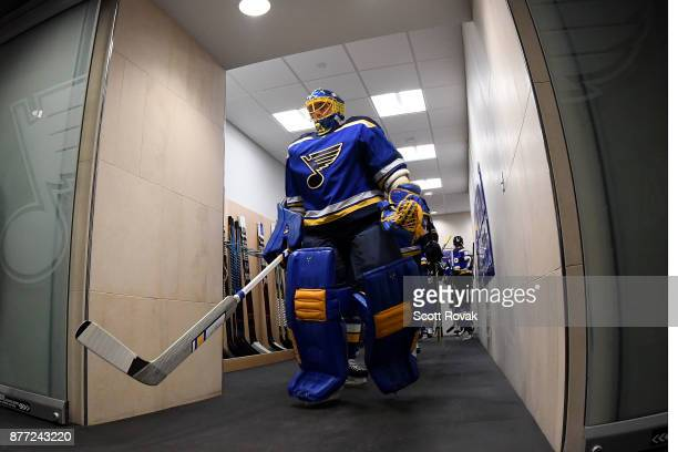 Jake Allen of the St Louis Blues leads the St Louis Blues to the ice for warmups prior to a game against the Edmonton Oilers at Scottrade Center on...
