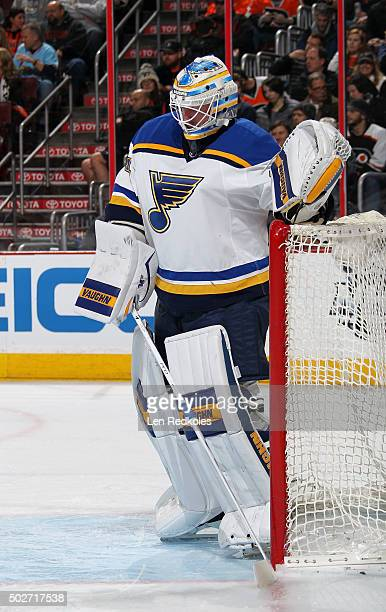 Jake Allen of the St Louis Blues looks on in goal against the Philadelphia Flyers on December 21 2015 at the Wells Fargo Center in Philadelphia...