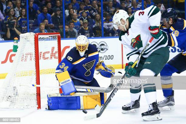 Jake Allen of the St Louis Blues looks to make a save against Jake Allen of the St Louis Blues in Game Three of the Western Conference First Round...
