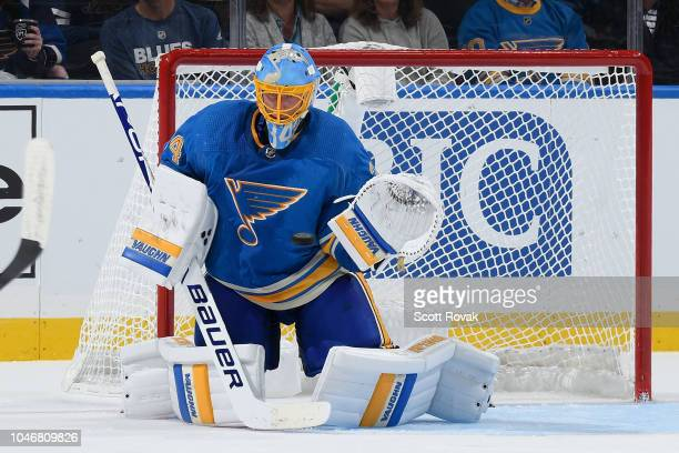 Jake Allen of the St Louis Blues makes a save against the Chicago Blackhawks at Enterprise Center on October 6 2018 in St Louis Missouri