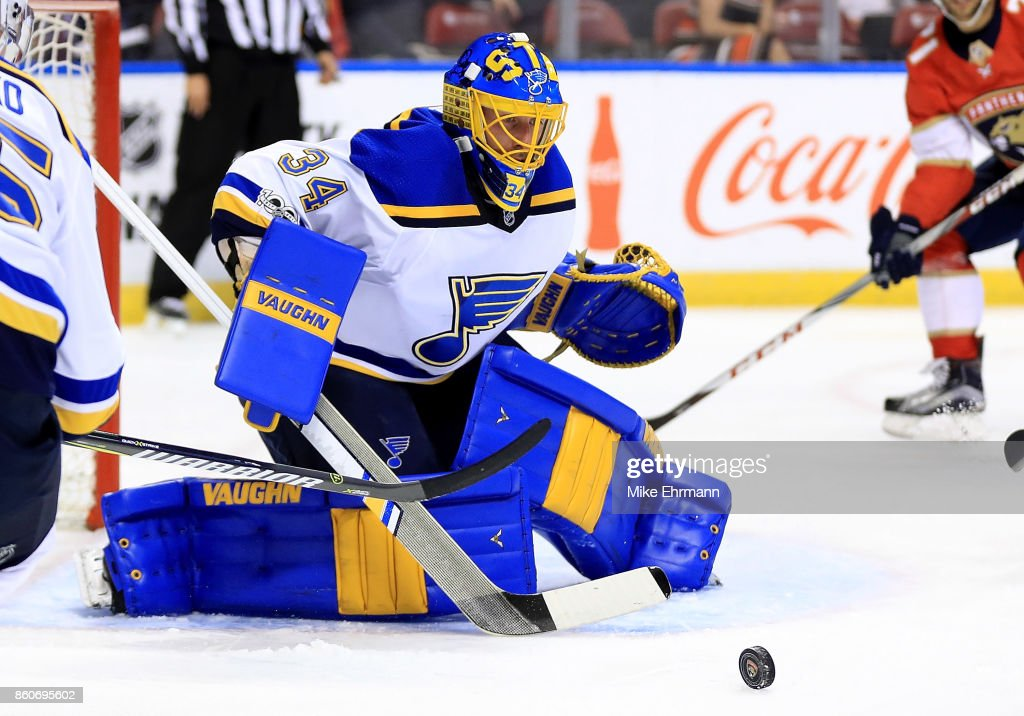 Jake Allen #34 of the St. Louis Blues makes a save during a game against the Florida Panthers at BB&T Center on October 12, 2017 in Sunrise, Florida.