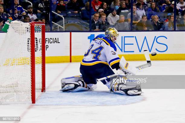 Jake Allen of the St Louis Blues makes a save during the second period of the game against the Columbus Blue Jackets on March 24 2018 at Nationwide...