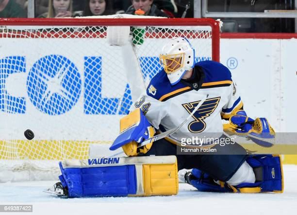 Jake Allen of the St Louis Blues makes a stick side save defending the net against the Minnesota Wild during the third period of the game on March 07...