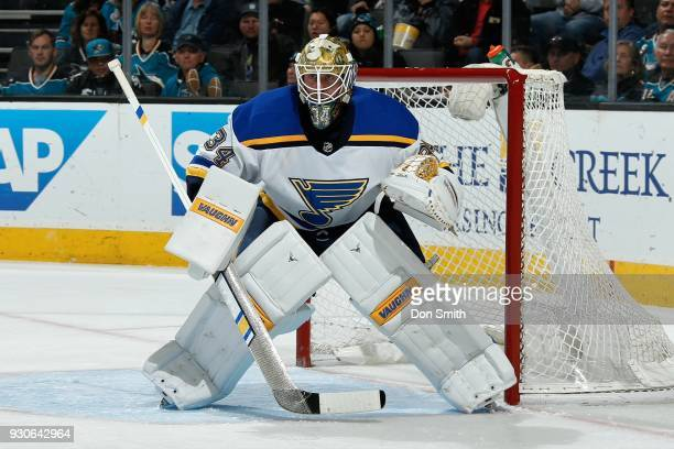 Jake Allen of the St Louis Blues protects the net during a NHL game against the San Jose Sharks at SAP Center on March 8 2018 in San Jose California