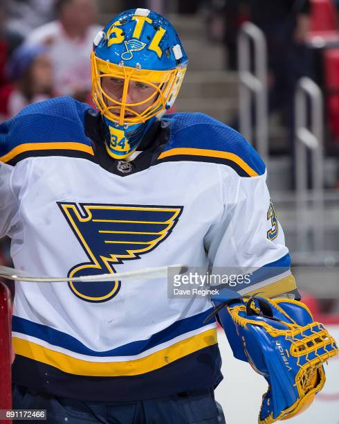 Jake Allen of the St Louis Blues skates around on a play stoppage against the Detroit Red Wings during an NHL game at Little Caesars Arena on...