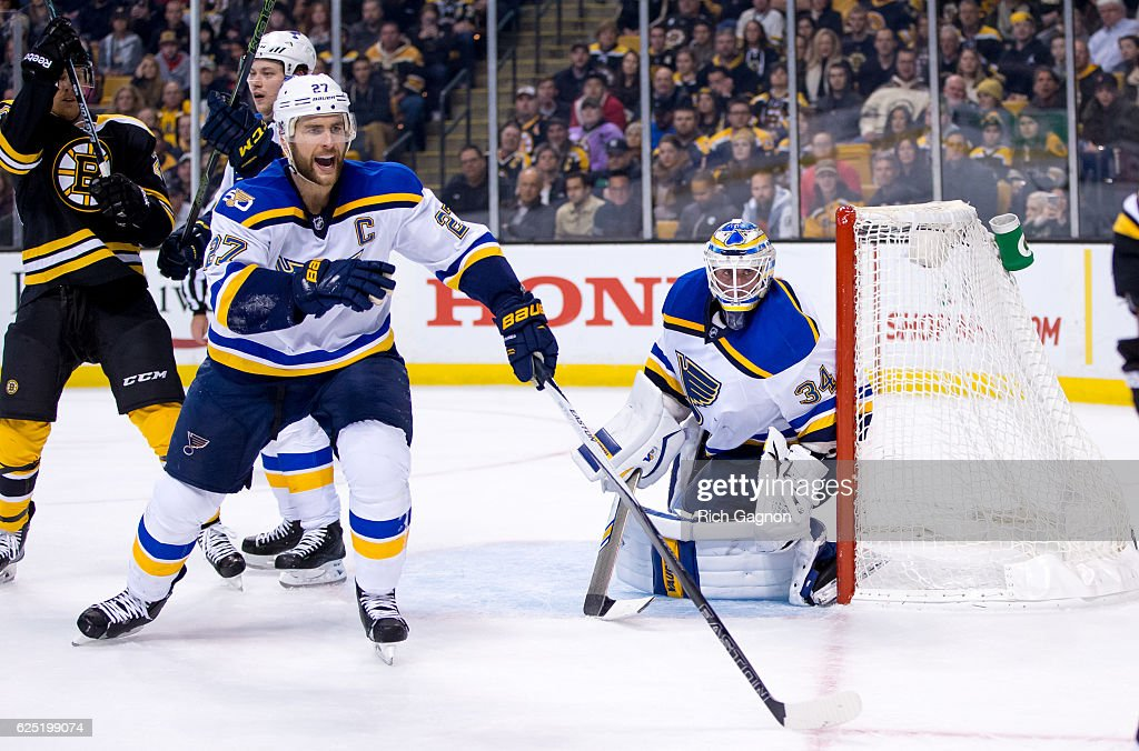 Jake Allen #34 of the St. Louis Blues tends goal against the Boston Bruins as teammate Alex Pietrangelo #27 skates close by during the third period at TD Garden on November 22, 2016 in Boston, Massachusetts. The Blues won 4-2.