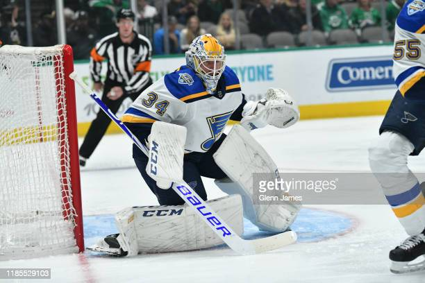 Jake Allen of the St. Louis Blues tends goal against the Dallas Stars at the American Airlines Center on November 29, 2019 in Dallas, Texas.