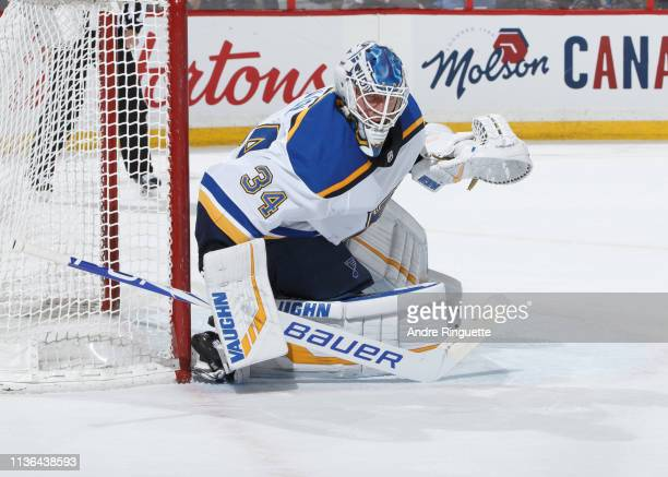 Jake Allen of the St Louis Blues tends net against the Ottawa Senators at Canadian Tire Centre on March 14 2019 in Ottawa Ontario Canada