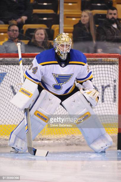 Jake Allen of the St Louis Blues warms up before the game against the Boston Bruins at the TD Garden on February 1 2018 in Boston Massachusetts