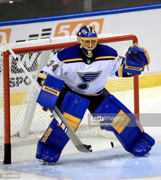 Jake Allen of the St Louis Blues warms up during a game against the Florida Panthers at BBT Center on October 12 2017 in Sunrise Florida