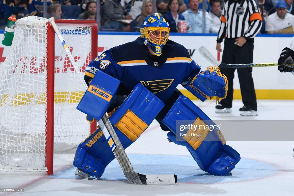 Jake Allen 34 Of The St Louis Blues Watches Action Against Dallas