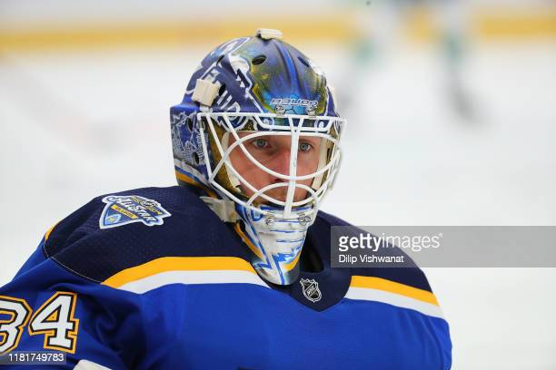 Jake Allen of the St. Louis Blues wearing his helmet during warm up prior to playing against the Vancouver Canucks at Enterprise Center on October...