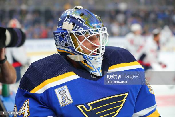 Jake Allen of the St. Louis Blues wears a Stanley Cup Champions patch on his sweater in a game against the Washington Capitals at Enterprise Center...