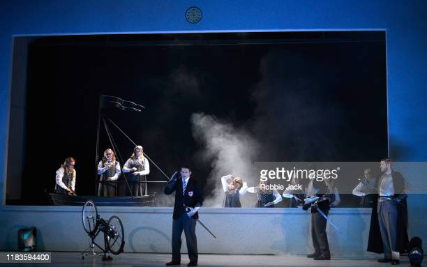 Jake Arditti as Rinaldo and James Hall as Goffredo with artists of the company in Glyndebourne Opera's production of Handel's Rinaldo directed by...