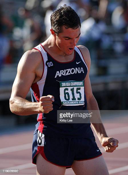 Jake Arnold of Arizona celebrates after winning the decathlon with 7870 points in the NCAA Track Field Championships at Sacramento State's Hornet...