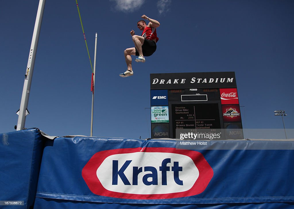 Jake Arnold of Asics clears the bar during the pole vault competition in the Men's Decathlon at the Drake Relays on April 25, 2013 at Drake Stadium, in Des Moines, Iowa.