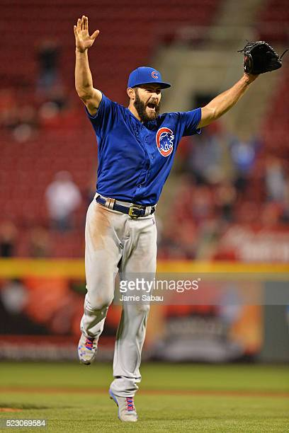 Jake Arrieta of the Chicago Cubs celebrates after the final out after throwing a nohitter against the Cincinnati Reds at Great American Ball Park on...