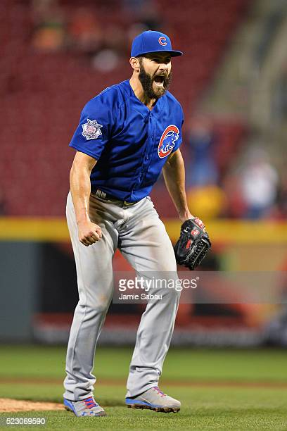 Jake Arrieta of the Chicago Cubs celebrates after the final out after throwing a no-hitter against the Cincinnati Reds at Great American Ball Park on...