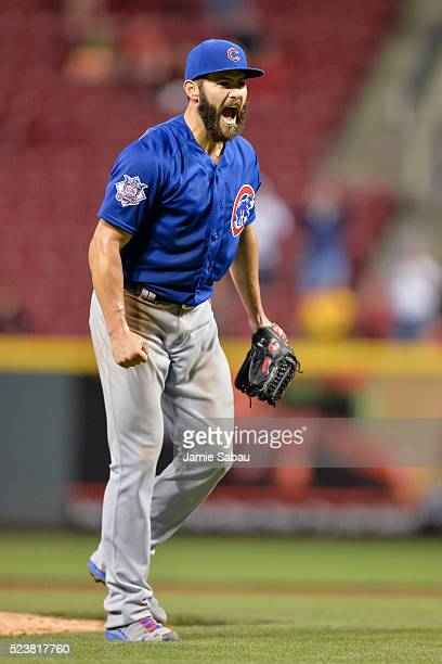 Jake Arrieta of the Chicago Cubs celebrates after throwing a nohitter against the Cincinnati Reds at Great American Ball Park on April 21 2016 in...