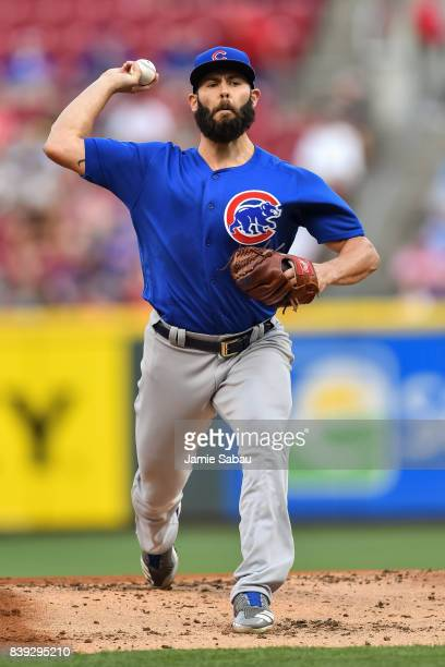 Jake Arrieta of the Chicago Cubs pitches against the Cincinnati Reds at Great American Ball Park on August 24 2017 in Cincinnati Ohio