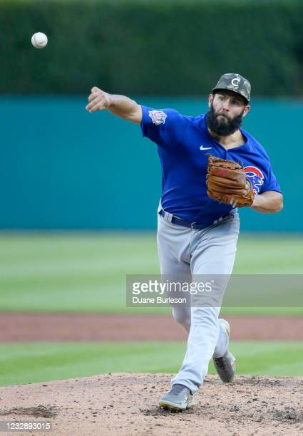 Jake Arrieta of the Chicago Cubs pitches against the Detroit Tigers during the third inning at Comerica Park on May 14, 2021 in Detroit, Michigan.