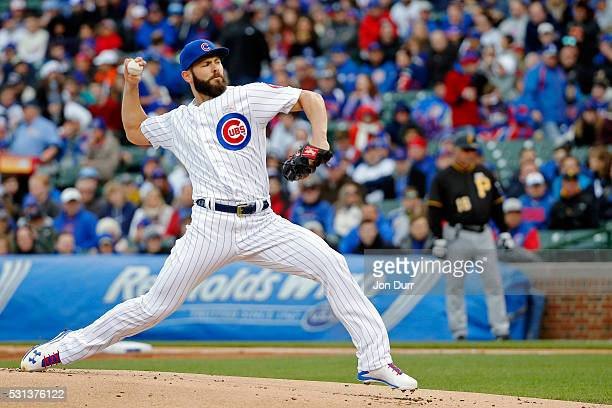 Jake Arrieta of the Chicago Cubs pitches against the Pittsburgh Pirates during the first inning at Wrigley Field on May 14 2016 in Chicago Illinois