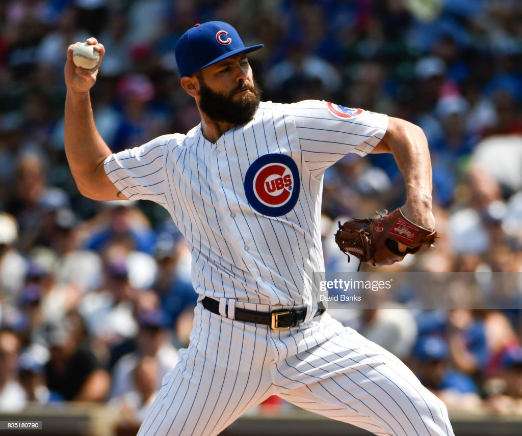 Jake Arrieta #49 of the Chicago Cubs pitches against the Toronto Blue Jays during the first inning on August 18, 2017 at Wrigley Field in Chicago, Illinois.