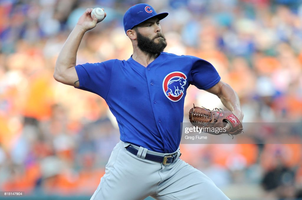 Jake Arrieta #49 of the Chicago Cubs pitches in the first inning against the Baltimore Orioles at Oriole Park at Camden Yards on July 15, 2017 in Baltimore, Maryland.
