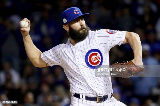 Jake Arrieta of the Chicago Cubs pitches in the first inning against the Los Angeles Dodgers game four of the National League Championship Series at...