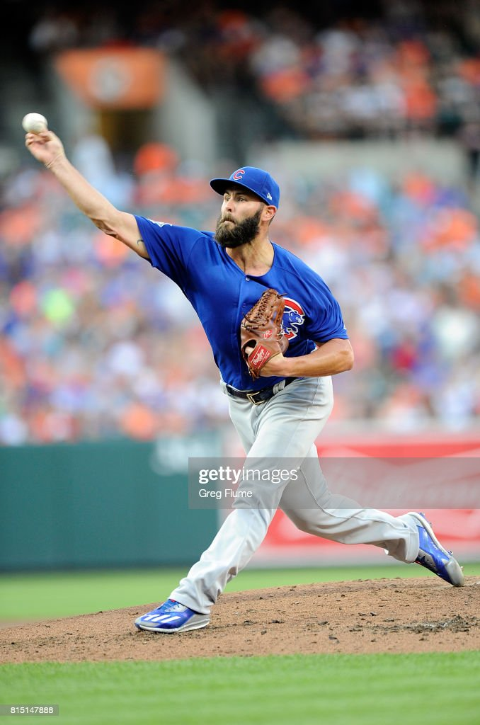Jake Arrieta #49 of the Chicago Cubs pitches in the second inning against the Baltimore Orioles at Oriole Park at Camden Yards on July 15, 2017 in Baltimore, Maryland.