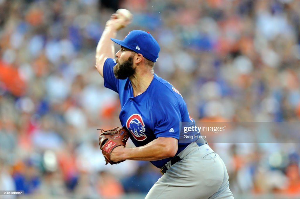 Jake Arrieta #49 of the Chicago Cubs pitches in the third inning against the Baltimore Orioles at Oriole Park at Camden Yards on July 15, 2017 in Baltimore, Maryland.