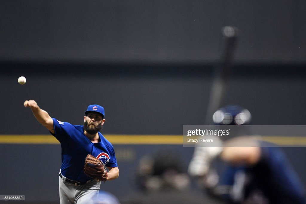 Jake Arrieta #49 of the Chicago Cubs throws a pitch during the first inning of a game against the Milwaukee Brewers at Miller Park on September 21, 2017 in Milwaukee, Wisconsin.