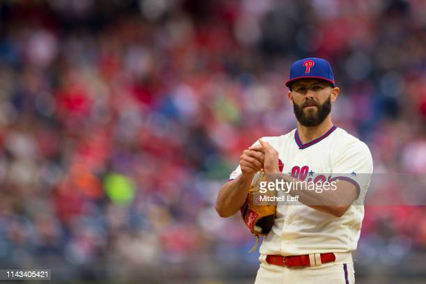 Jake Arrieta of the Philadelphia Phillies looks on against the New York Mets at Citizens Bank Park on April 17 2019 in Philadelphia Pennsylvania