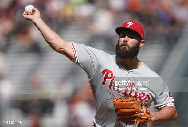 Jake Arrieta of the Philadelphia Phillies pitches against the San Francisco Giants in the bottom of the first inning at Oracle Park on August 11,...