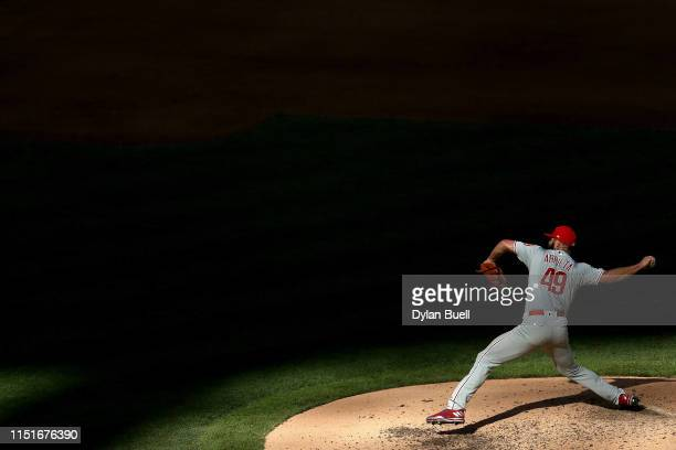 Jake Arrieta of the Philadelphia Phillies pitches in the sixth inning against the Milwaukee Brewers at Miller Park on May 25 2019 in Milwaukee...