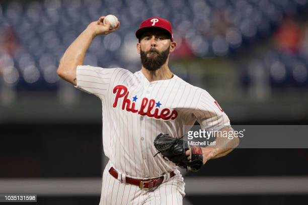 Jake Arrieta of the Philadelphia Phillies throws a pitch in the top of the first inning against the New York Mets at Citizens Bank Park on September...