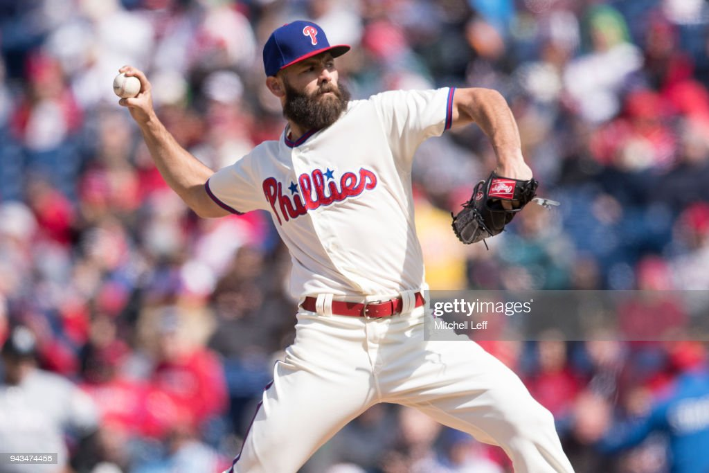 Jake Arrieta #49 of the Philadelphia Phillies throws a pitch in the top of the fourth inning against the Miami Marlins at Citizens Bank Park on April 8, 2018 in Philadelphia, Pennsylvania. The Marlins defeated the Phillies 6-3.
