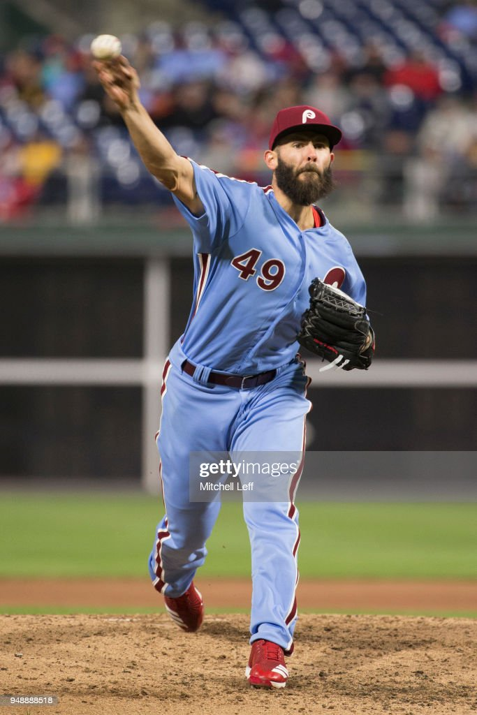 Jake Arrieta #49 of the Philadelphia Phillies throws a pitch in the top of the fourth inning against the Pittsburgh Pirates at Citizens Bank Park on April 19, 2018 in Philadelphia, Pennsylvania. The Phillies defeated the Pirates 7-0.