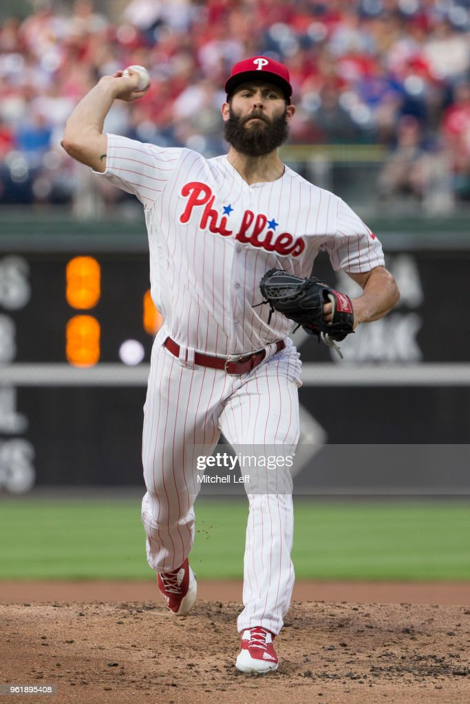 Jake Arrieta #49 of the Philadelphia Phillies throws a pitch in the top of the second inning against the Atlanta Braves at Citizens Bank Park on May 23, 2018 in Philadelphia, Pennsylvania. The Phillies defeated the Braves 4-0.