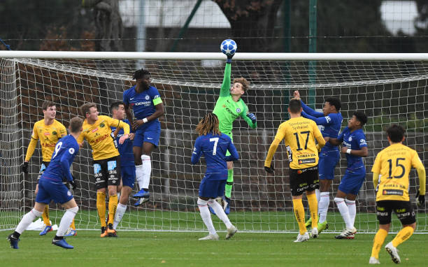 Jake Askew makes a save during the Chelsea v Elfsborg UEFA Champions Youth League Second Leg match on November 28, 2018 in Cobham, England.