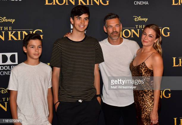 Jake Austin Cibrian Mason Edward Cibrian Eddie Cibrian and LeAnn Rimes attend the premiere of Disney's The Lion King at Dolby Theatre on July 09 2019...