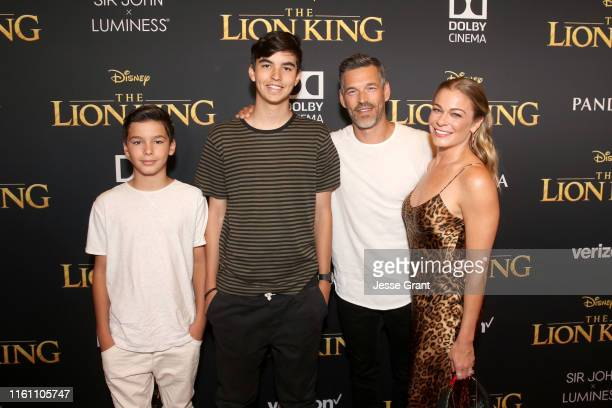 Jake Austin Cibrian Mason Edward Cibrian Eddie Cibrian and LeAnn Rimes attend the World Premiere of Disney's THE LION KING at the Dolby Theatre on...